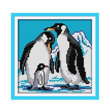 Penguin Antartika Gletser Salju Buatan Tangan Menjahit Cross Stitch Kit Furniture Kain 11CT 14CT Calico Bordir(China)