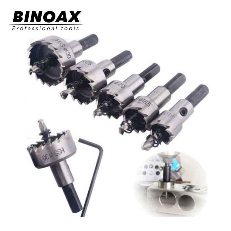 BINOAX 5pcs Carbide Tip HSS Drills Bit Hole Saw Set Stainless Steel Metal Alloy 16/18.5/20/25/30mm