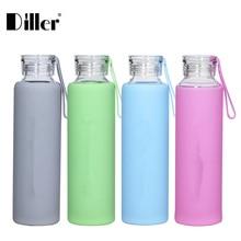 Diller Neue 550 ML Wasserflasche Sommer Stil Portable Glas Mit Silikonabdeckung Mode Trinkflasche Fahrrad Sport Umweltfreundliche