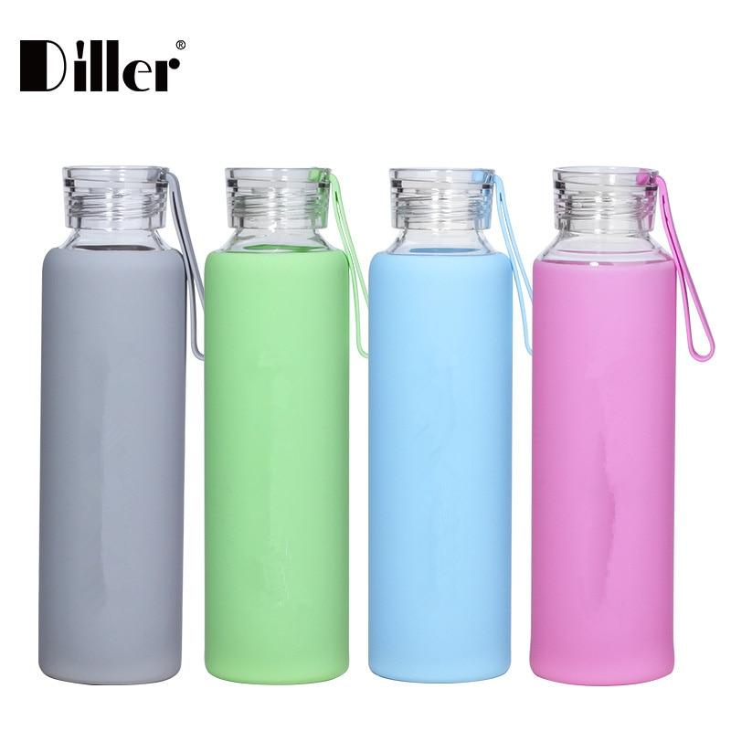 Diller nueva botella de agua de 550 ML de vidrio portátil de estilo de verano con cubierta de silicona de moda botella de beber bicicleta deporte respetuoso con el medio ambiente