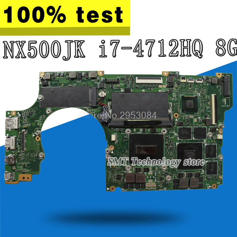 Laptop Motherboard For Asus NX500 NX500JKA NX500JK REV2.0 Mainboard With i7 4712HQ GT850M 2G Ram 8G Memory 100% Tested GOOD S 4
