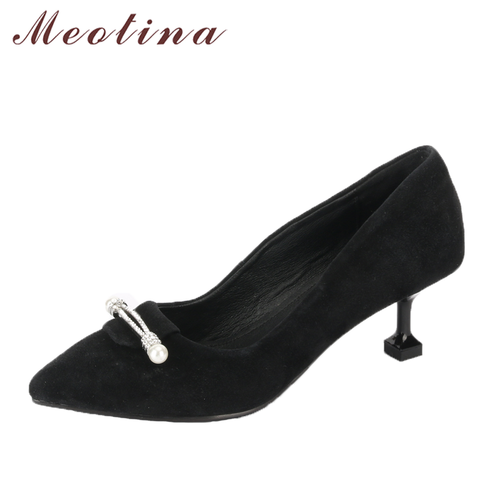 Meotina Genuine Leather Women Pumps High Heels Pointed Toe Kid Suede Shoes Crystal Kitten Heel Lady Party Shoes Black Size 34-43 meotina shoes women high heels ladies pumps big size 34 42 spring pointed toe mary jane career chunky high heel black lady shoes