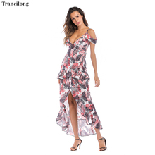 2019 New Rushed None Dress Plus Size Trancilong Summer Butterfly Pattern Print Deep V-neck Womens Irregular Sling Maxi