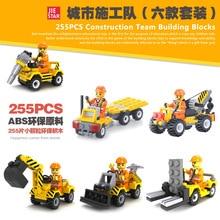 6Pcs/set Construction Team Engineering Excavator Forklift Bulldozer Crane Building Block Kids Toys