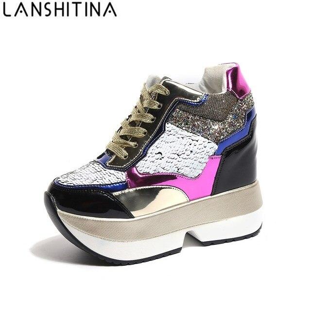 2018 Phụ Nữ Mới Mùa Xuân Nêm Giày PU Da Harajuku Giày Đầy Màu Sắc Bling Mùa Đông Mắt Cá Chân Khởi Động 12 cm Cao Gót nền tảng Sneakers