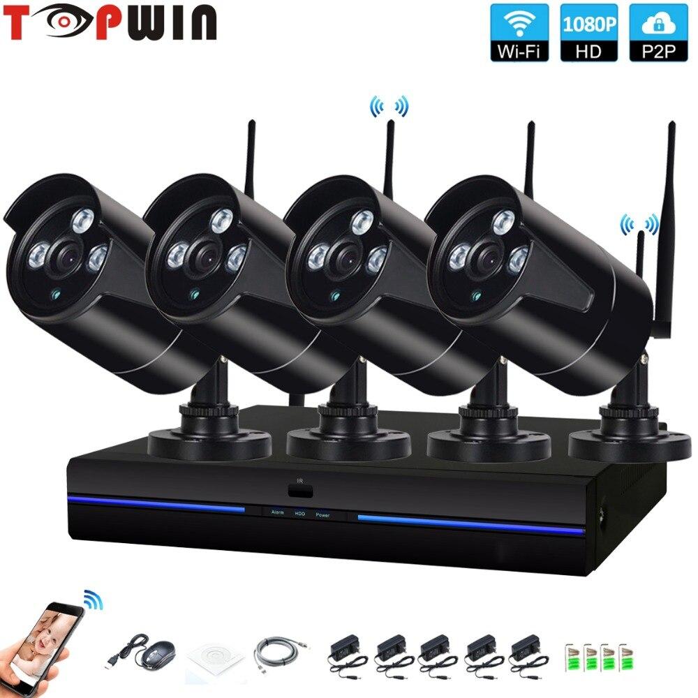 4CH CCTV System Wireless 1080P NVR 4PCS 2.0MP metalcolor Outdoor indoor P2P Wifi IP CCTV Security Camera System Surveillance Kit