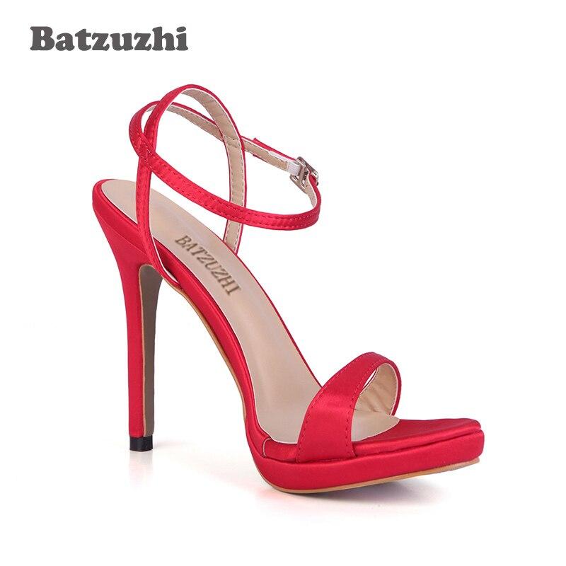 43 Haute Taille Batzuzhi Sandale Rouge Talons Chaussures Sandalias De Zapatos Mujer Couleurs pourpre rouge 12 2018 Bonbons New Noce Cm Grande Femmes Rose 8wqFUHAn8