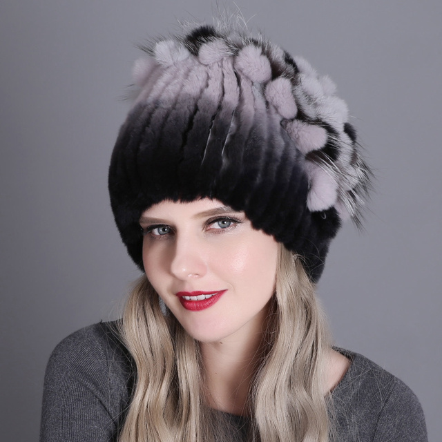 Fur Winter Hat for Women 100% Real Rex Rabbit Fox Fur Hat Rex Rabbit Fur Caps lady winter warm Headwear Women's fur hats