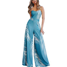 JAYCOSIN 1PC Women Jumpsuit beach fashion Summer Floral printed wide-leg Lady Sling Sleeveless Jumpsuit pants with straps z0107(China)