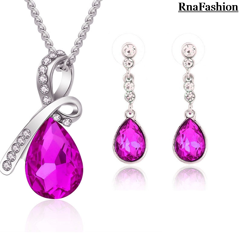 2014 Wholesale Jewelry Sets Water Drop Pendant Necklace Earring Sets European And American Style For Women