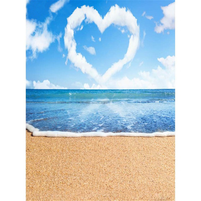 Romantic Love Heart Shape Cloud Blue Sky Tropical Beach