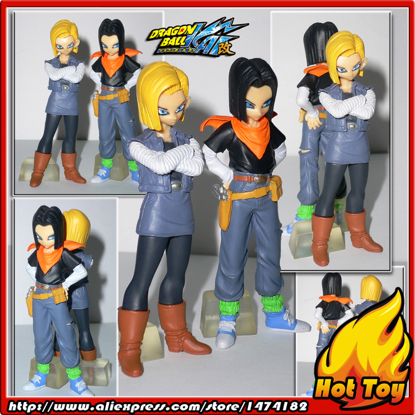 100% Original BANDAI Gashapon PVC Toy Figure HG Part 4 - Android 17 & 18 from Japan Anime Dragon Ball Z sailor moon capsule communication instrument machine accessory gashapon figure anime toy full set 100