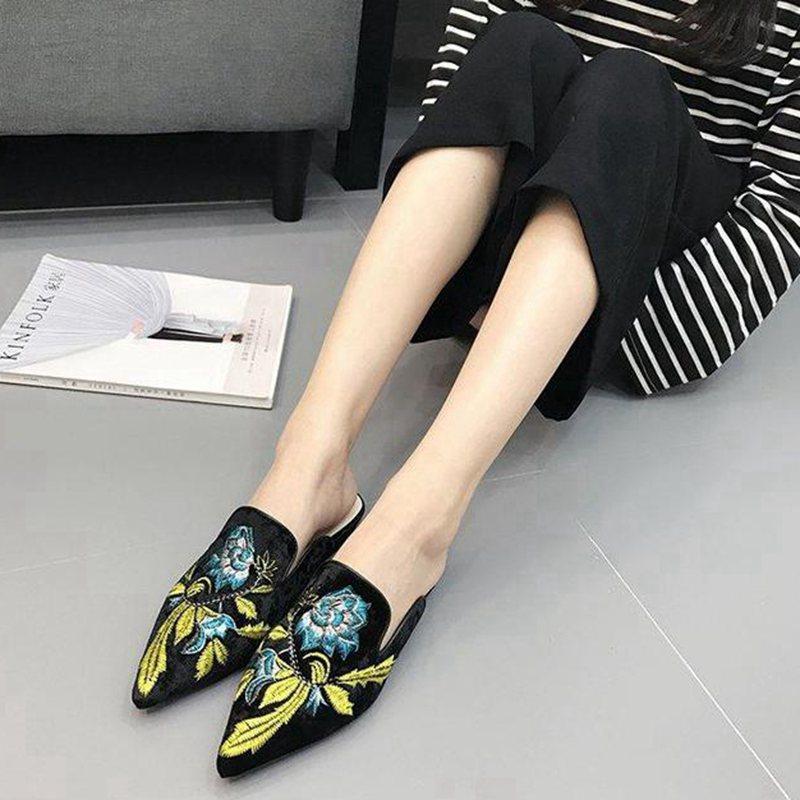 Media Negro Señaló Solo Salvaje caqui Planos Ante Mujer Bordado Ocasional Nueva Zapatos 2018 Otoño Cómodos azul Arrastre 60OBW