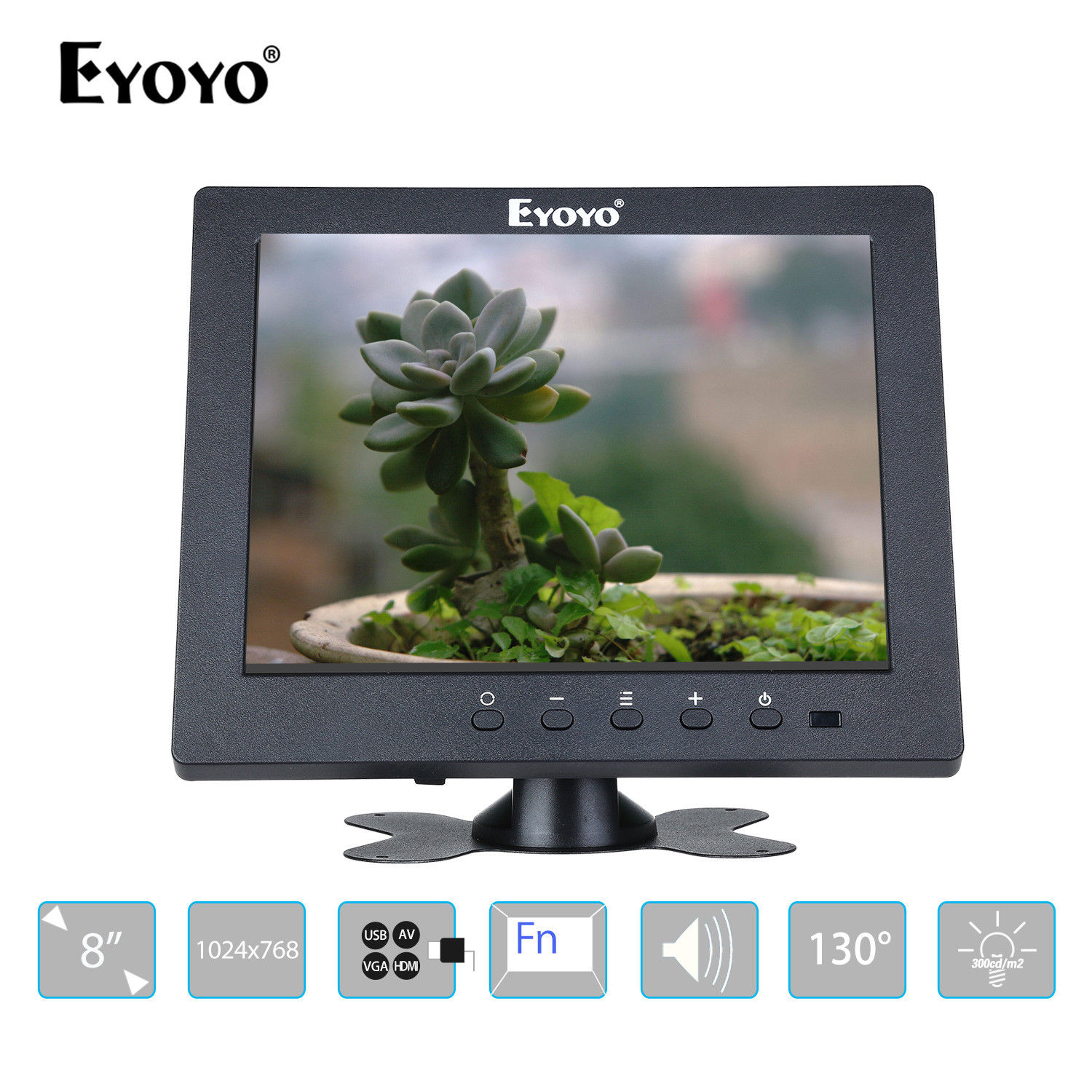 Eyoyo S801T Monitor 8 1024x768 LCD Screen Display For CCTV DVD PC Laptop DVR Camera With BNC HDMl Output Built-in Loudspeakers eyoyo g08 160 degree 8 inch 400 1 tft lcd monitor screen 4 3 1024 768 hdmi av vga video audio for cctv fpv with loudspeaker