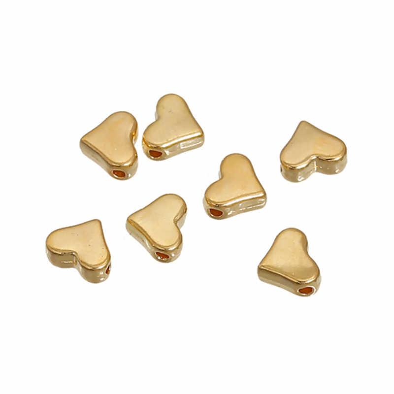 DoreenBeads Lega A Base di Zinco Branelli Del Distanziatore Perline a Forma di Cuore In Oro Argento di Colore Per Monili Che Fanno 7 millimetri x 6mm foro: 1.2 millimetri