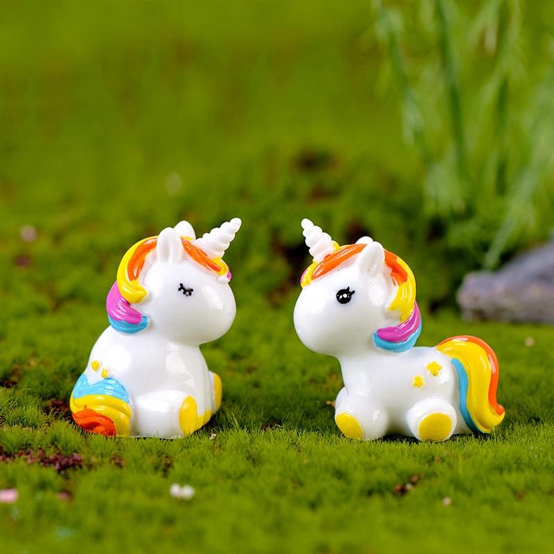 1 Pcs Colorful Rainbow Unicorn Animal Miniature Garden Accessories Modern Fairy Garden Pop Miniature Figurines Fairy Garden