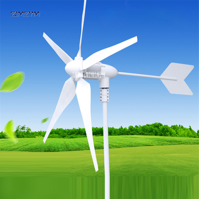 Wind Turbine 5 Blades Rated 600W 12 V/ 24V/48V Wind Generator Wind Solar Hybrid Charge Controller Wind Power Generator Z-600W 600w wind solar hybrid controller 400w wind turbine 200w solar panel charge controller 12v 24v auto with big lcd display
