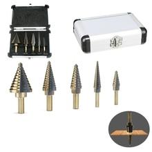 5Pcs Step Drill Bit Set 50 Sizes Bits Center Drill Perforator Hole Cutter Tools