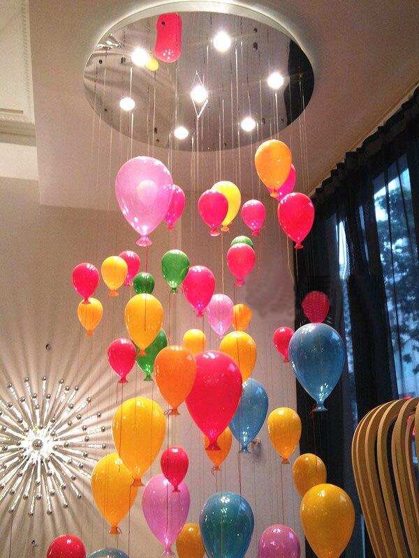 Luz pingente de moda moderna levou crianças quarto colorido balão multicor bola de vidro sala de jantar droplight lâmpada da escada