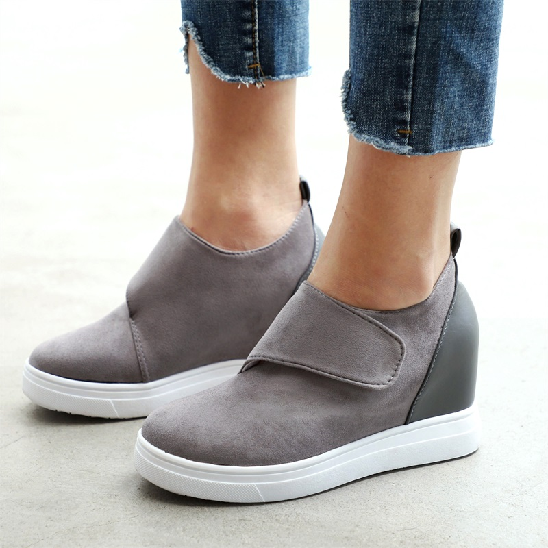 2019 Flock Lady Casual Shoes Wedges Women Sneakers Platform Shoes Casual High Heel Shoes Height Increasing Slip On Footwear