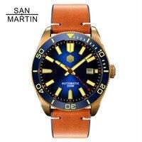 Сан Мартин для мужчин автоматические часы Винтаж бронзовый Дайвинг часы 300 водостойкий керамика ободок Ретро наручные часы Relojes Hombre2018
