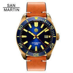 313115a06dc San Martin Men Automatic Watch Vintage Bronze diving Watch 300 Water  Resistant Ceramic Bezel Retro Wristwatch