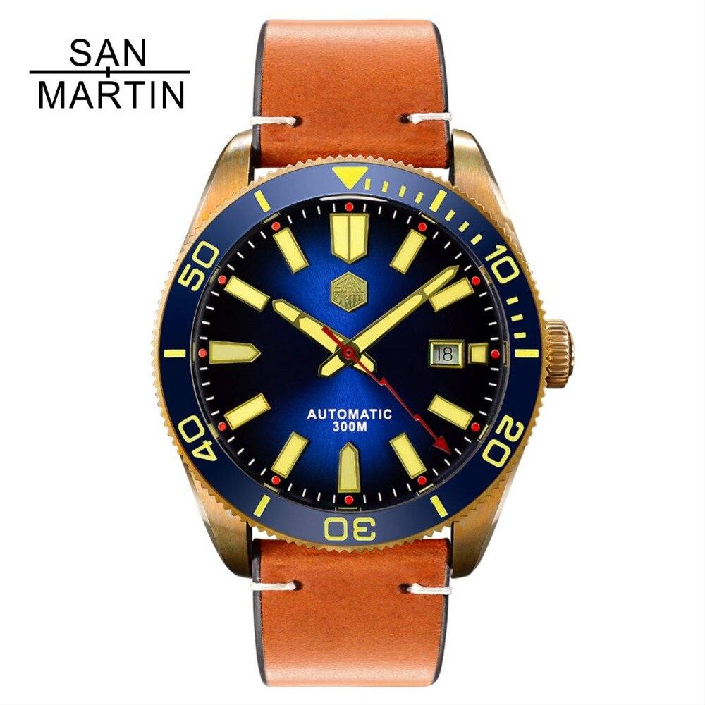 San Martin de los hombres reloj automático de bronce Vintage reloj de buceo 300 resistente al agua y bisel de cerámica Retro reloj de pulsera Relojes Hombre2018