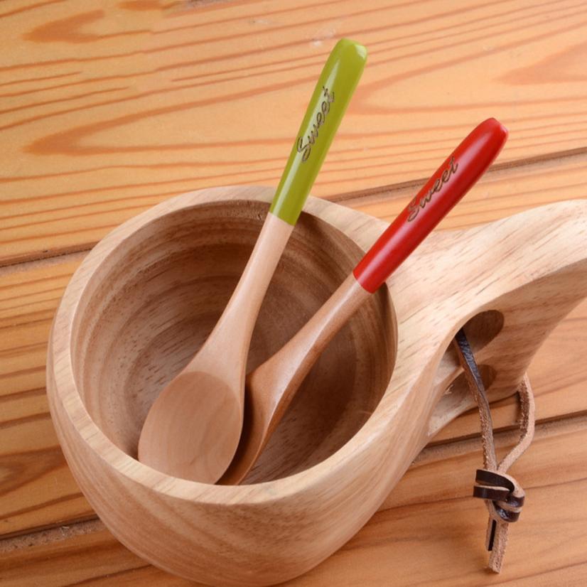 Dessert Small Wooden Spoon Coffee Mixing Spoon Children's ...