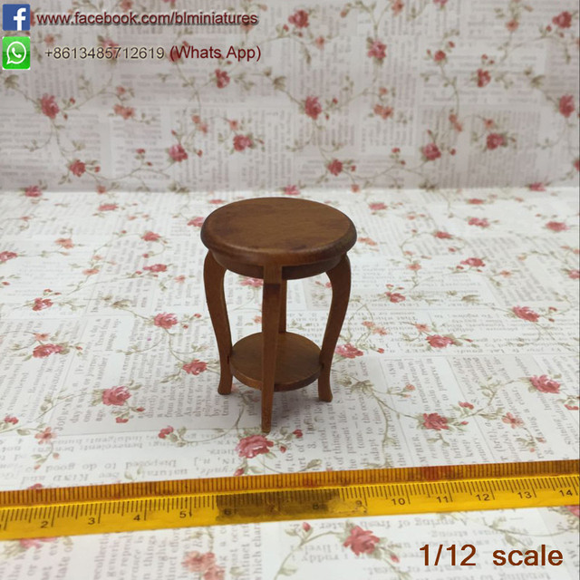 Doll House Miniature Walnut Side Table Chinese Style Dollhouse