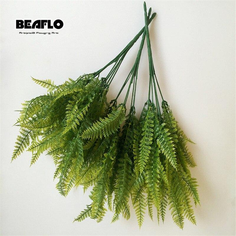 1pc Green Artificial Plant Leaf Grass Decorative Plastic Branch Silk Rubber Plastic Material Shaped Home Wedding Decor