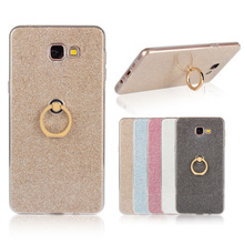 Bling Glitter Ring Holder Stand Soft TPU Phone Cases Cover for Samsung Galaxy A9 Case Coque Cellphone Accessories