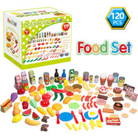 120Pcs Kids Pretend Play Food Toys Set Cutting Fruits Vegetables Kitchen Miniature Safety Food Sets Educational Toy for Children
