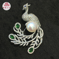 WEICOLOR Proud Silver Peacock Brooch With Natural Freshwater Pearl.