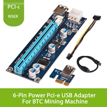6PCS PCIe riser cable VER 006 or Ver006C PCI-E 16x to 1x Powered Riser Adapter Card USB 3.0 Extension Cable 4pin MOLEX to SATA