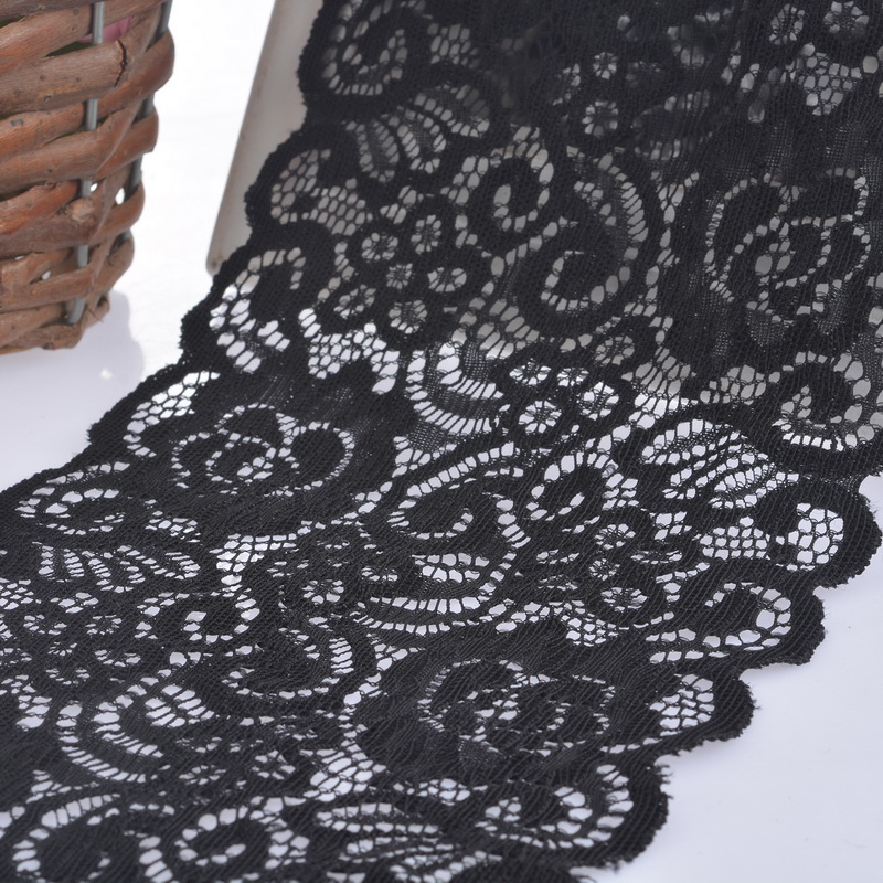 5Yards Wide BlackWhite Elastic Embroidered Lace Trim Ribbon Fabric DIY Crafts Sewing