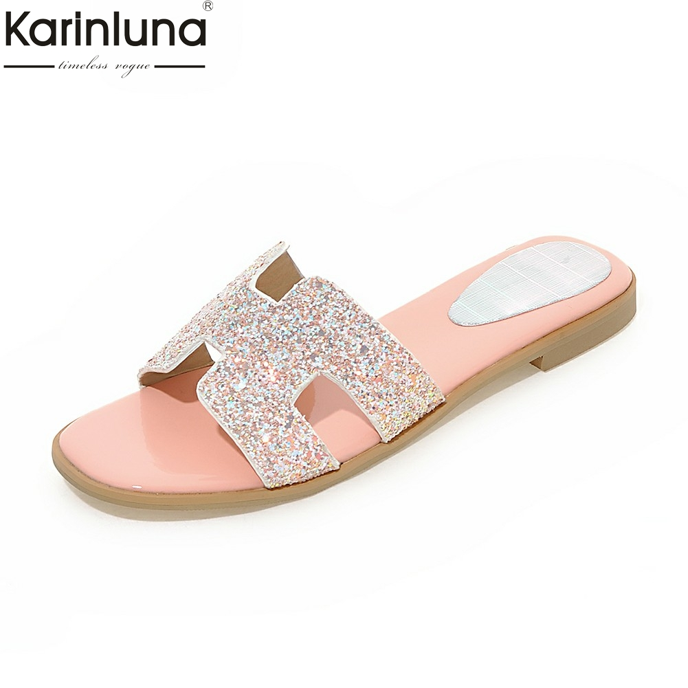 Karinluna 2018 Small Big Size 32-45 Leisure Summer Slippers Woman Shoes Brand Sequined Cloth Comfortable womens Shoes Slides