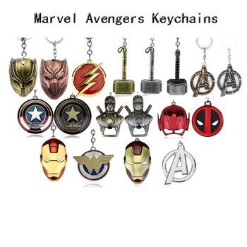 Thor Hammer Marvel Keychain SuperHeroe The Avengers Pendant Keychains Letter A Keyring Porte Clef Chaveiro Iron Man Key Holder
