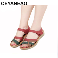 CEYANEAOMother sandals soft leather large size flat sandals summer casual comfortable non slip in the elderly women 's shoes