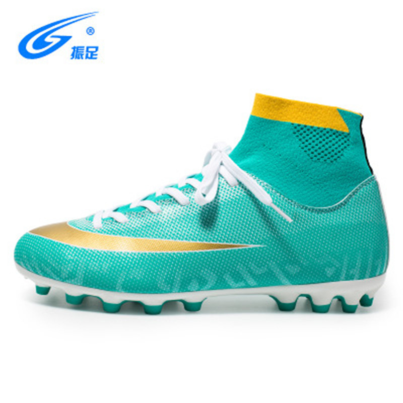 Dernières Football Crampons Hommes Orange Vert Sport Chaussures Hommes de Football D'origine Bottes En Plein Air Long Épi Haute Cheville de Football Crampons