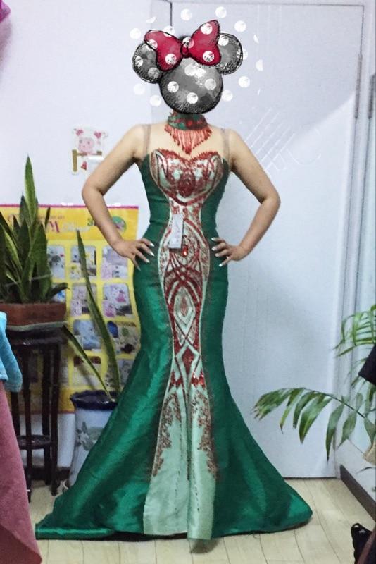 zelena saten beaded zavoj sirena od ramena dugo kineski cheongsam - Nacionalna odjeća - Foto 6