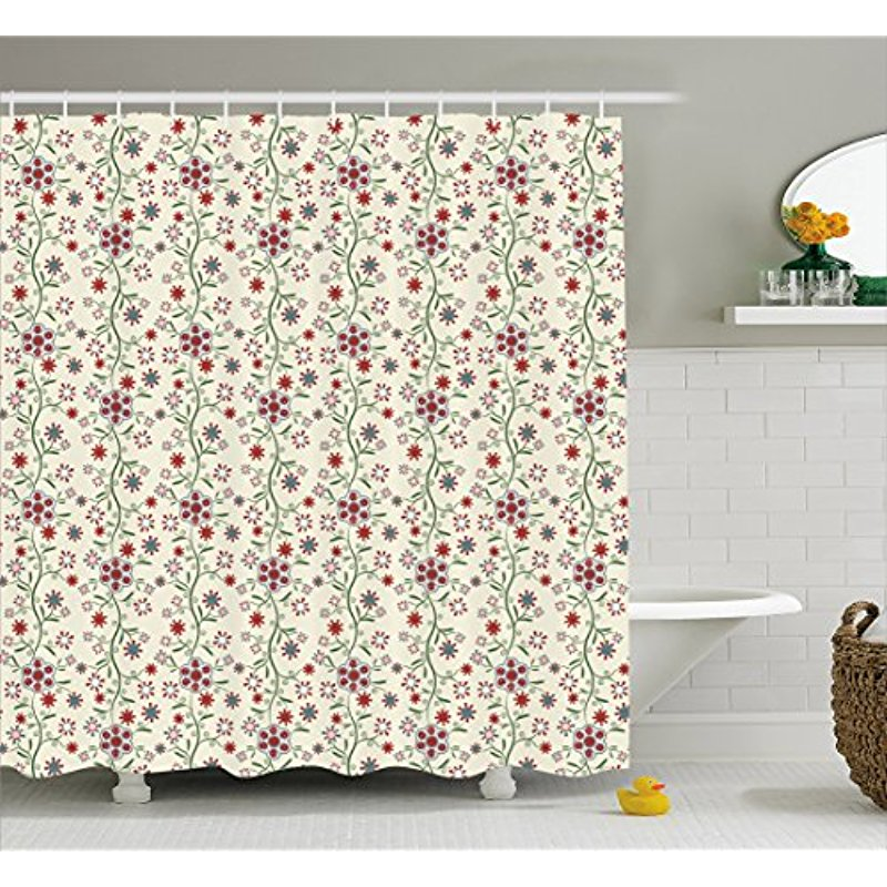 Vixm Floral Shower Curtain Vintage Shabby Chic Branches Cottage Style Blossoming Bluebells Pansy Fabric Bath Curtains