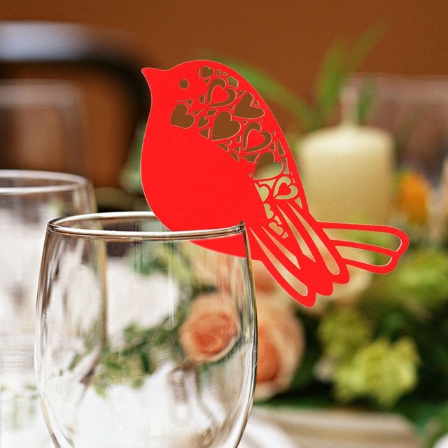 50 Pcs Bird Shape Glass Card