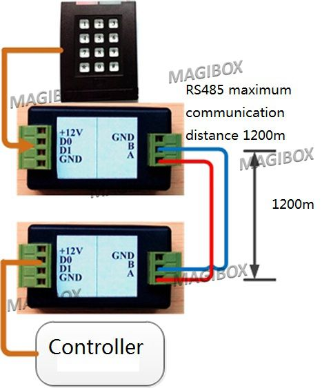 RFID 문 접근 제한을위한 Wiegand 신호 반복기 증폭기 Wg26 / 34 가장 긴 1200m