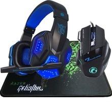 5500 DPI LED Pro Game Gaming Mouse+Stereo Deep Bass LED Light Pro Gaming Headphone Headset+for Big Razer Gaming Mousepad