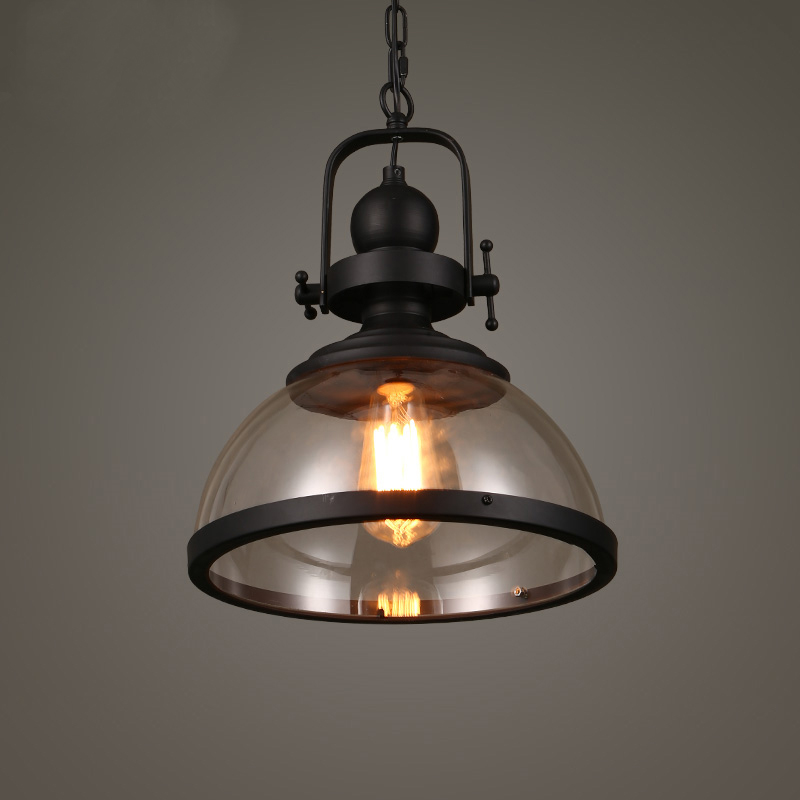 Glass chandelier loft Nordic industrial wind light bar counter restaurant cafe single head lamps lanterns