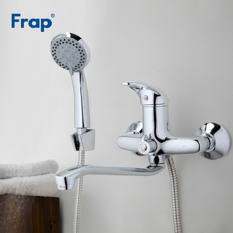 Frap Bathroom Shower Set 300mm Outlet pipe Chrome Bath Brass Shower Faucet Polished Mixer Tap ABS Shower Head Torneira F2203