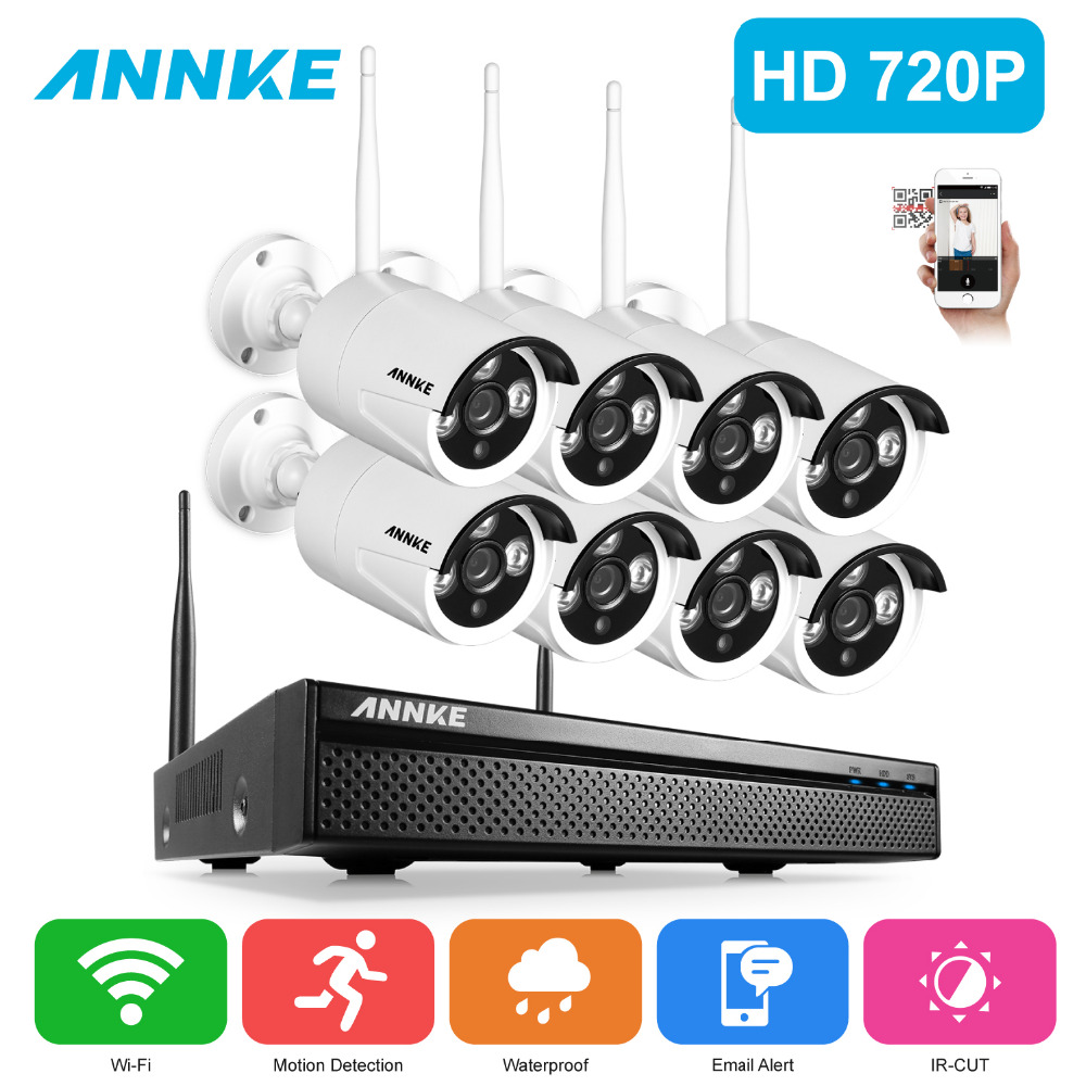 ANNKE 8CH CCTV System Wireless 720P NVR 8PCS 1.0MP IR Outdoor P2P Wifi IP CCTV Security Camera System Surveillance Kit deecam 8ch nvr kit 720p outdoor ip camera system p2p cloud 8ch 720p nvr system easy access supports pc