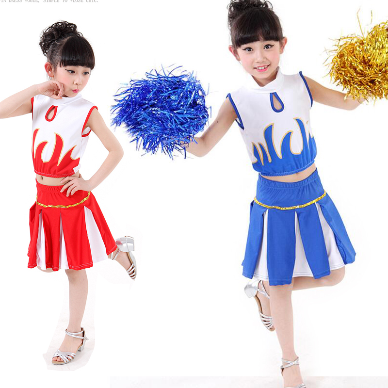 Girls cheering squad standard costumes Red High School Musical Cheerleader Girls Uniform New Costume Outfit Dancer Kids