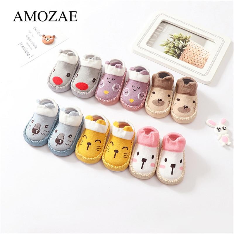Peúgas do bebê Com Solas De Borracha Padrão Animal Infantil Pé Sock Para Recém-nascidos Primavera Criança Meias Chão Sapatos Anti-Slip sola macia Sox