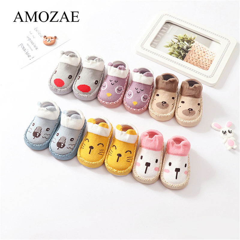 Baby Socks With Rubber Soles Animal Pattern Infant Foot Sock For Newborn Spring Kid Floor Socks Shoes Anti-Slip Soft Sole Sox